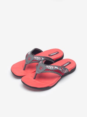 Larrie Red Printed Strap Sandals