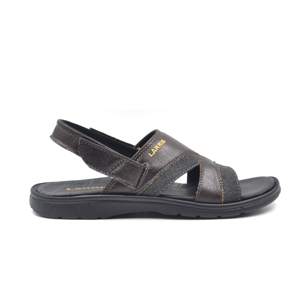 LARRIE Men Black Back Strap Sandals