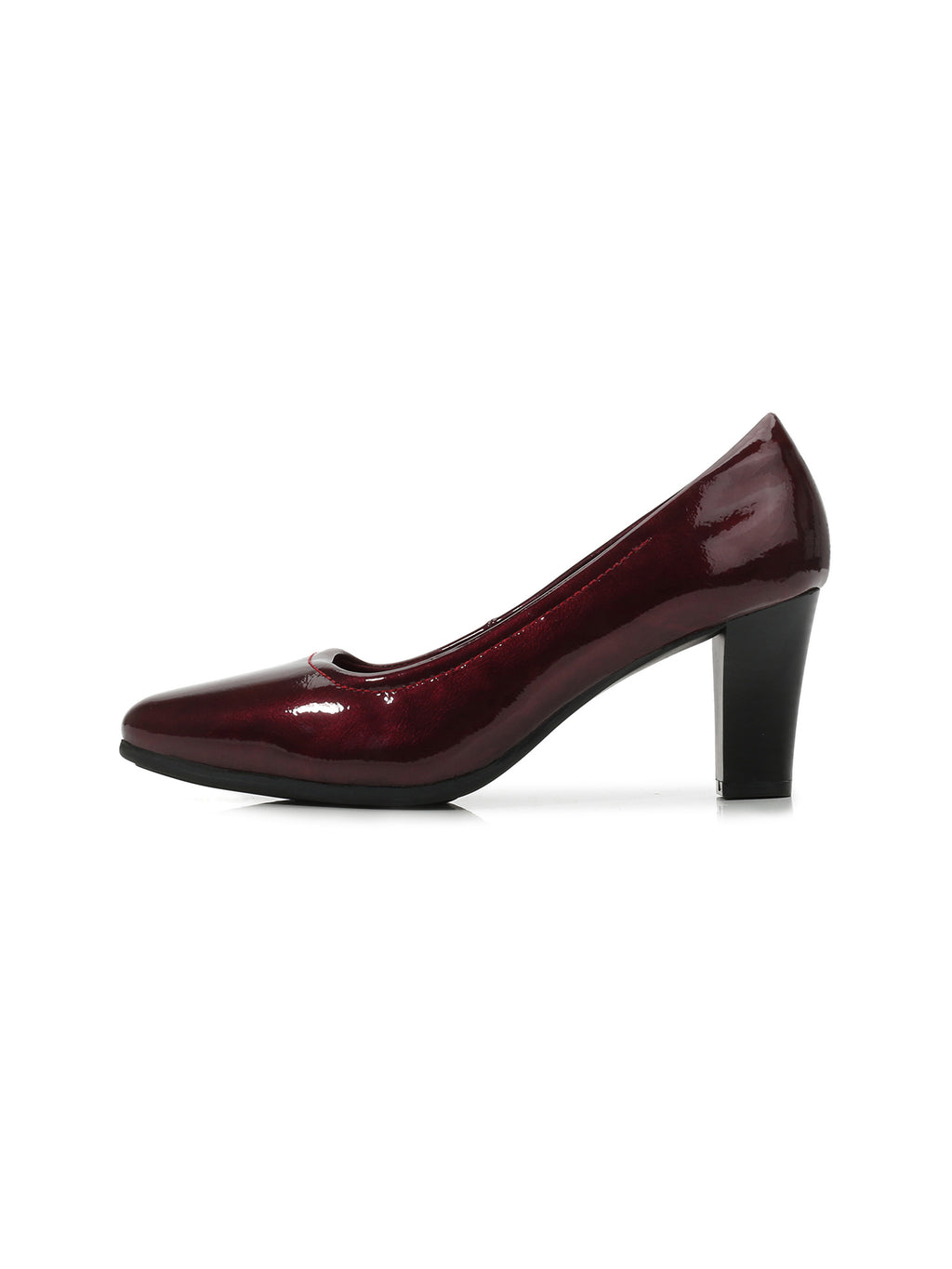Larrie Red Elegant Faux-Patent Leather Classic Heels
