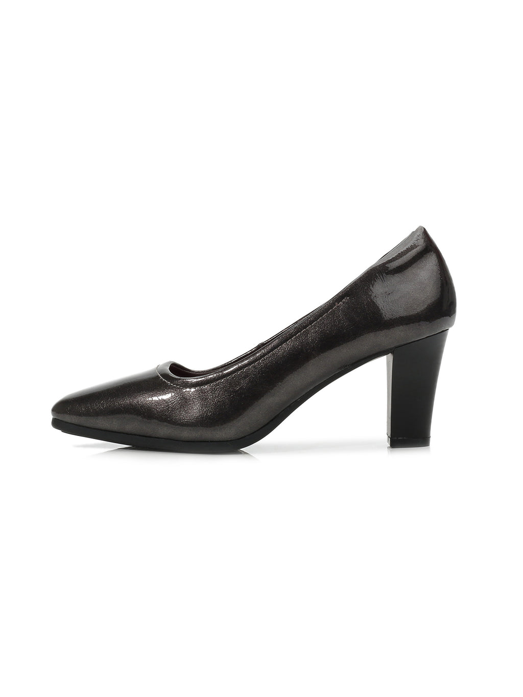 Larrie Grey Elegant Faux-Patent Leather Classic Heels