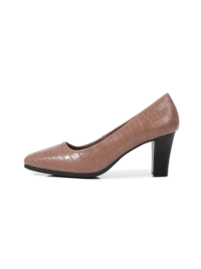Larrie Pink Croc Embossed Upper Business Heel