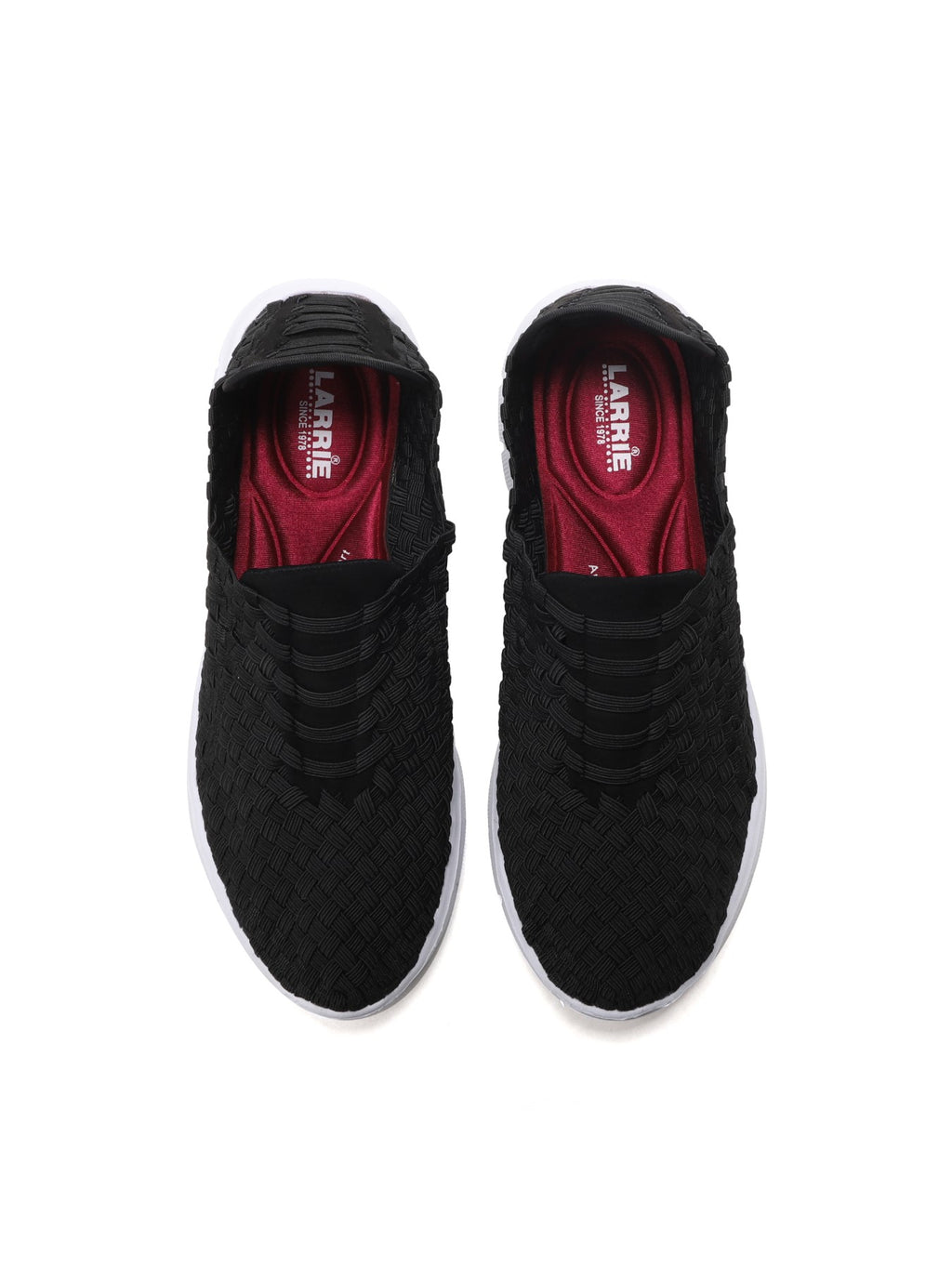 Larrie Black Interlaced Fashionable Sporty Sneakers