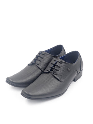 LR Larrie Black Textured Lace-Up Formal Shoes