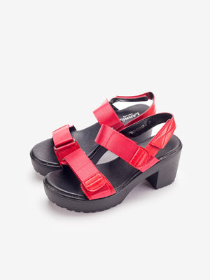 Larrie Women Red Stylish Casual Heel Sandal