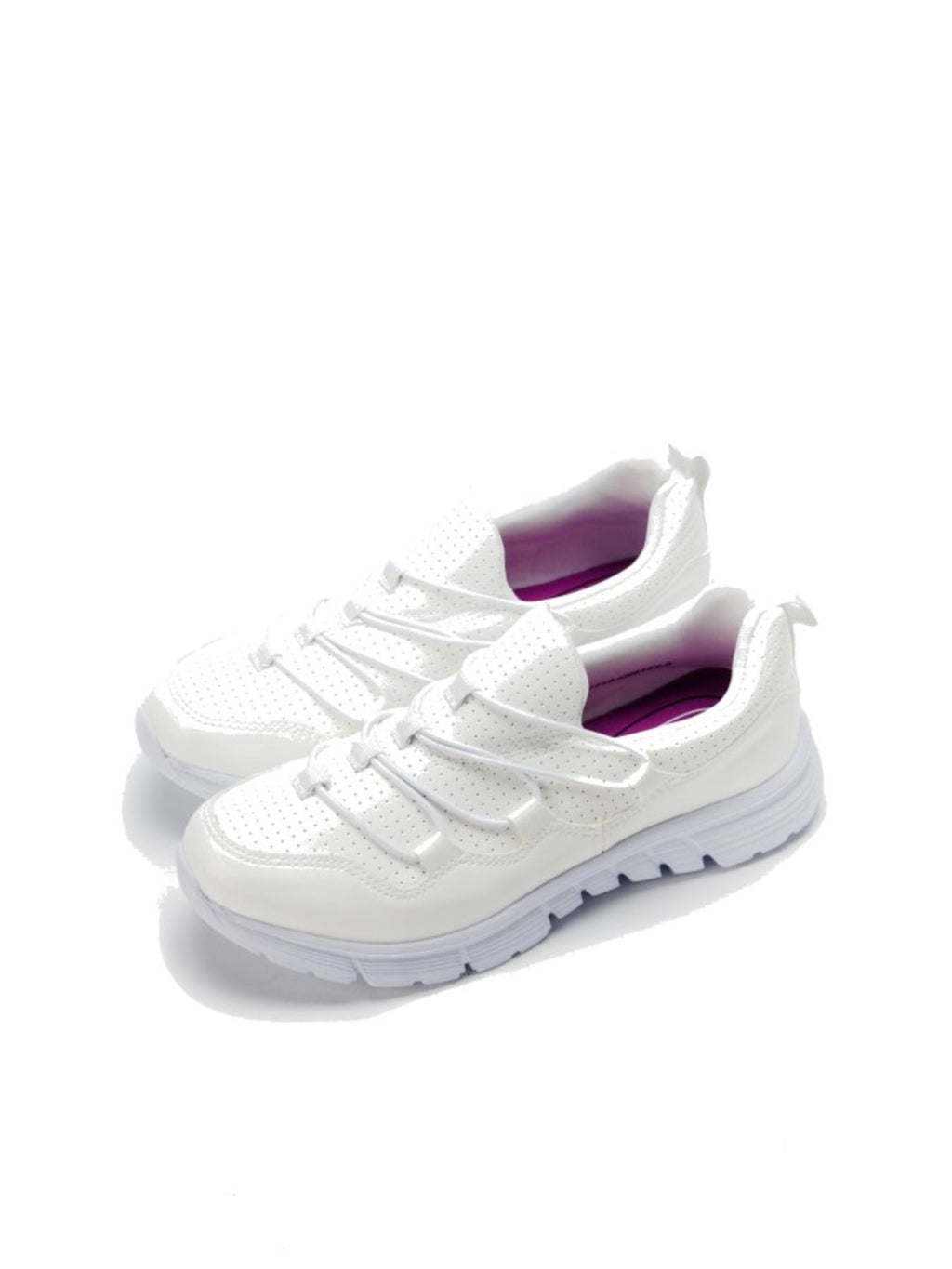 Larrie White Stretchable Basic Sporty Sneakers