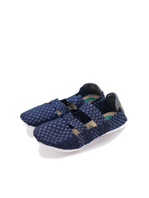 Larrie Navy Sporty Woven Flats