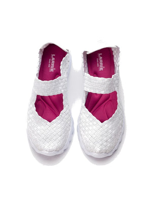 Larrie White Sporty Woven Sneakers