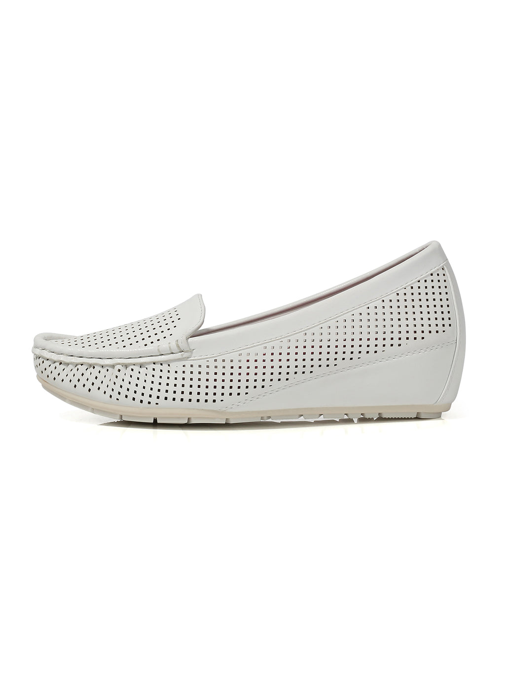 Larrie White Low Basic Loafer Wedges
