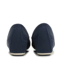 Larrie Navy Low Basic Loafer Wedges