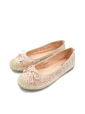 Larrie Women Pink Laser Cut Casual Basic Flats