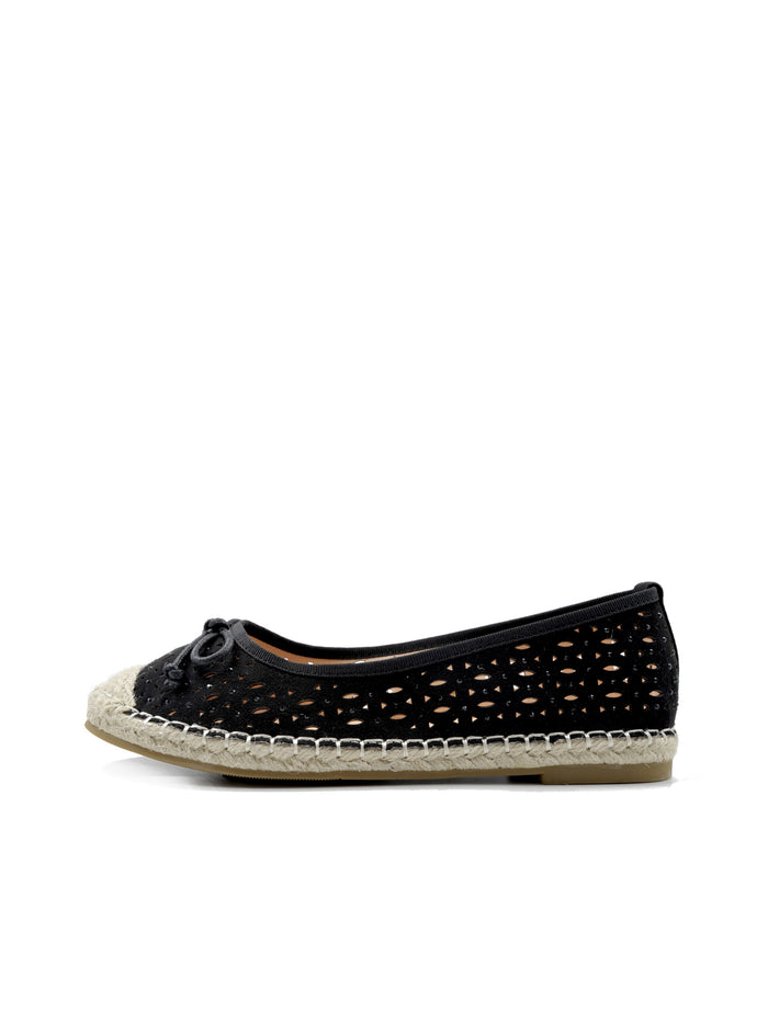 Larrie Women Black Laser Cut Casual Basic Flats