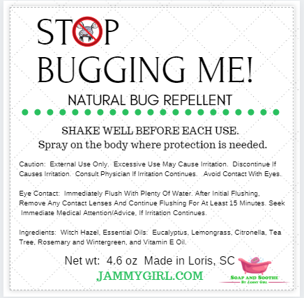 """STOP BUGGING ME!"" NATURAL BUG REPELLENT"