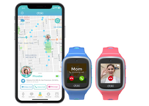 dokiPal and Doki App side-by-side to show location tracking, calling and video calling features