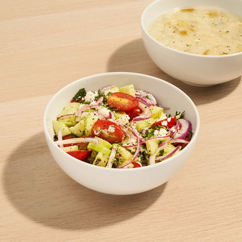 Perfect Pairings: Greek Salad and Lemony Chicken & Rice Soup