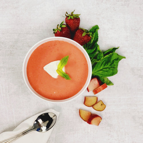 The Most Versatile Chilled Soup: Strawberry & Rhubarb Soup