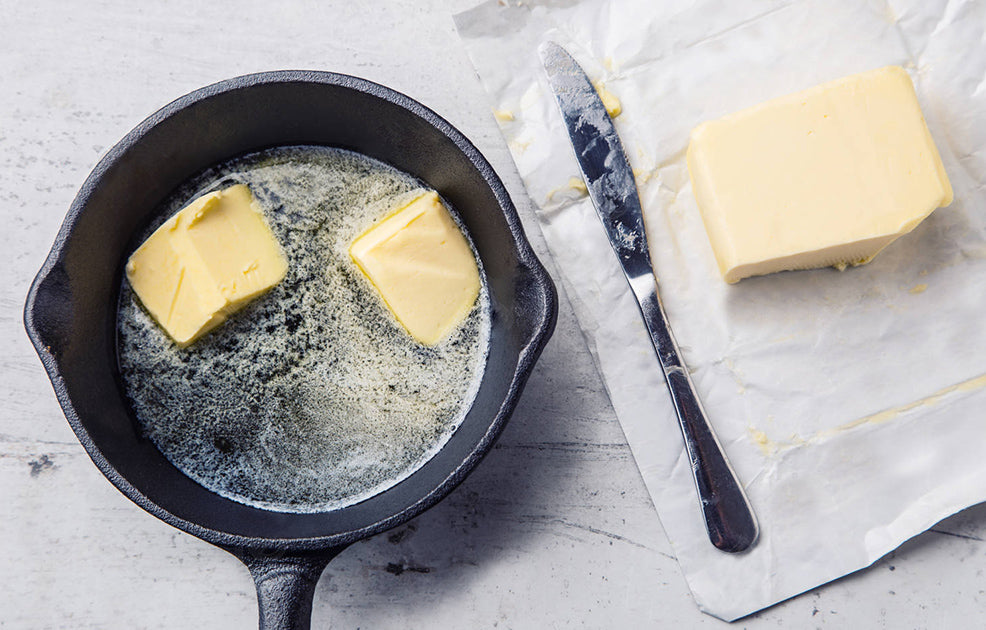 Butter browns in a cast iron skillet