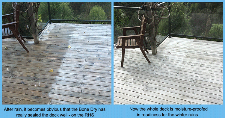 Bone dry sealing deck surfaces
