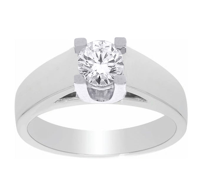 14kt White Gold 0.70ct Round Cut Solitaire Diamond Engagement Ring