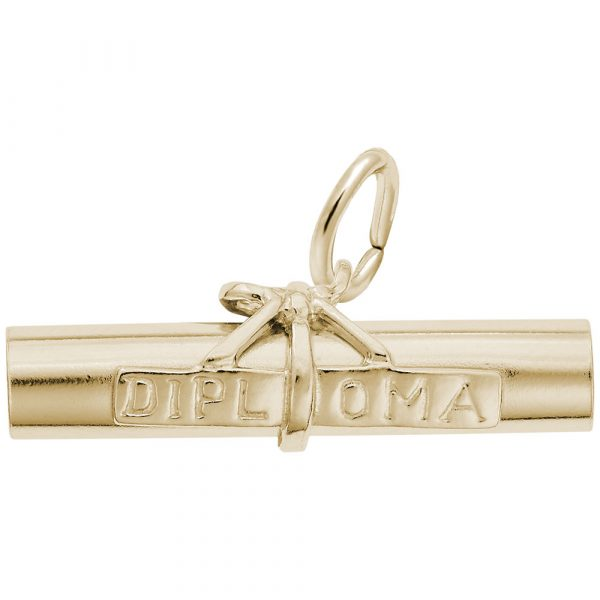 10kt Yellow Gold Diploma Scroll Charm