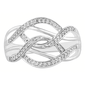 10KT WHITE GOLD 0.18CTTW DIAMOND DINNER RING