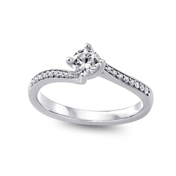 14KT WHITE GOLD 0.53CTTW CERTIFIED ENGAGEMENT RING