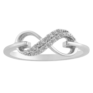 10KT WHITE GOLD 0.10CTTW INFINITY RING