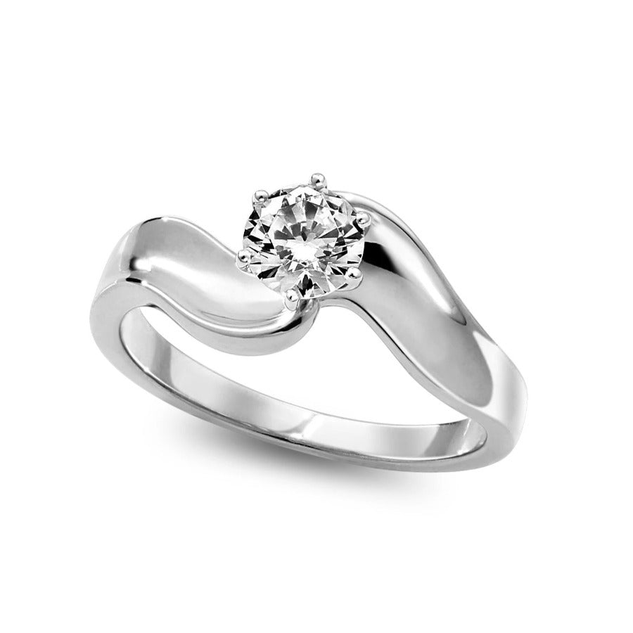 14KT WHITE GOLD 0.52CTTW CERTIFIED ENGAGEMENT RING