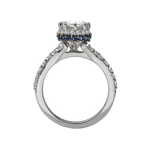 18kt Gold 1.75cttw Diamond and Sapphire Halo Engagement Ring