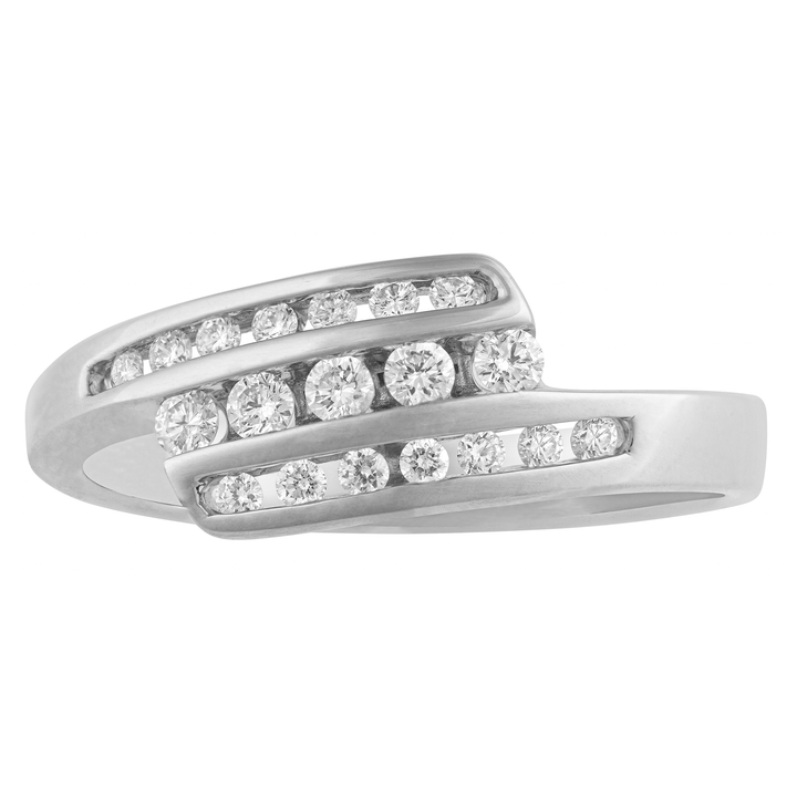 10KT GOLD 0.26CTTW DIAMOND CHANNEL RING