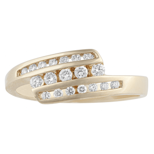 10KT YELLOW GOLD 0.26CTTW DIAMOND CHANNEL RING