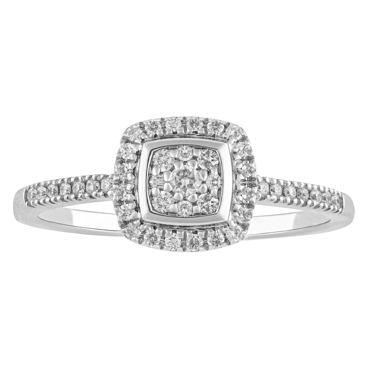 10KT WHITE GOLD 0.21CTTW SQUARE SHAPED HALO ENGAGEMENT RING
