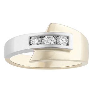 10KT WHITE AND YELLOW GOLD 0.25CTTW DINNER RING