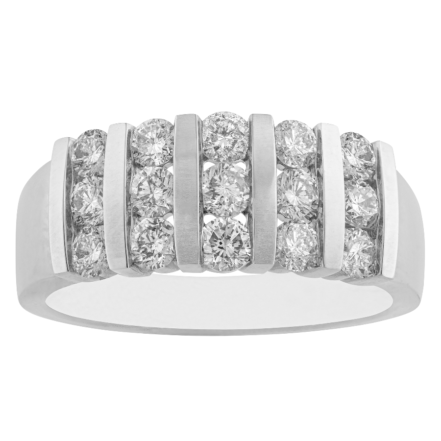 10KT WHITE GOLD 1.00CTTW DIAMOND CHANNEL RING