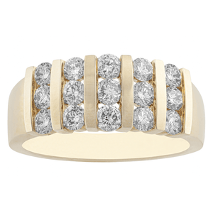 10KT YELLOW GOLD 1.00CTTW DIAMOND CHANNEL RING
