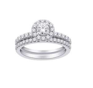 14kt White Gold 1.00cttw Halo Engagement Ring and Wedding Band Set