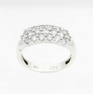 10kt White Gold 1.00ctttw Three Row Diamond Ring