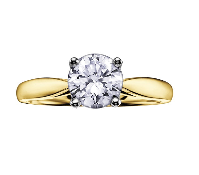14kt Yellow Gold 1.00ct Round Cut Solitaire Diamond Engagement Ring