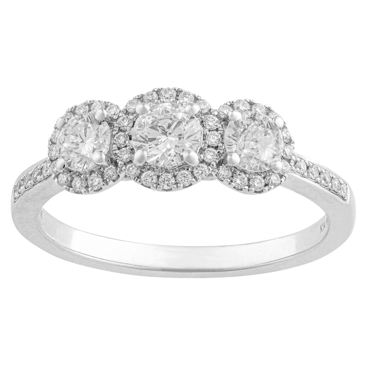 14KT WHITE GOLD 0.82CTTW ROUND CUT DIAMOND HALO RING