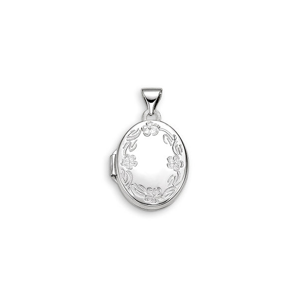 10kt White Gold Floral Oval Locket