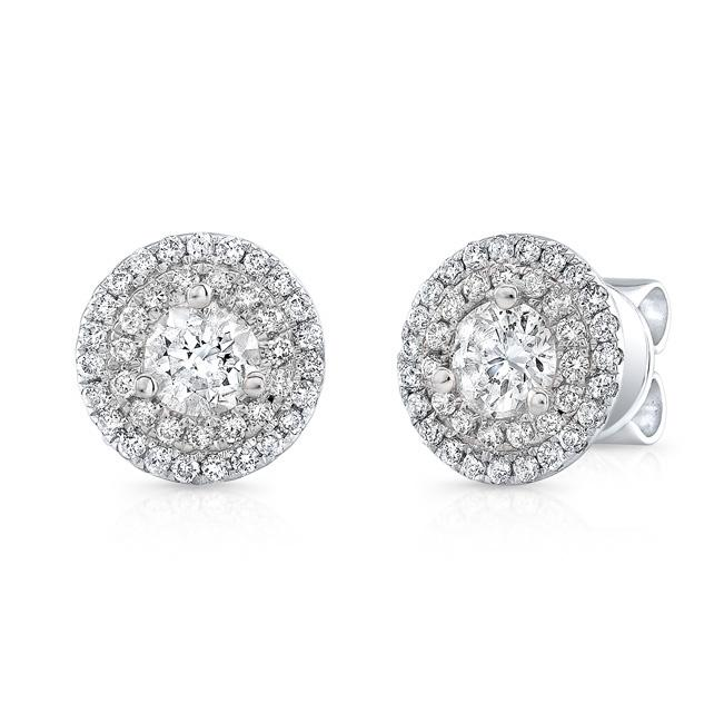 14KT WHITE GOLD 1.00CTTW DOUBLE HALO STUD EARRINGS
