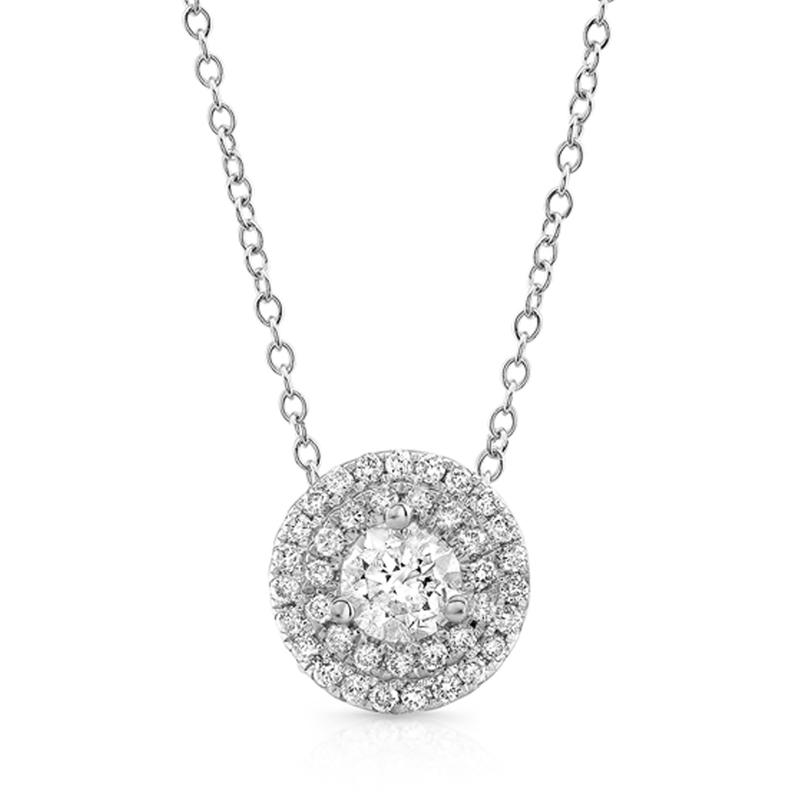 14KT WHITE GOLD 0.50 CTTW ROUND DOUBLE HALO PENDANT