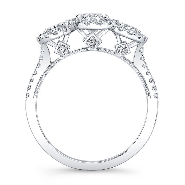 14kt White Gold 0.98cttw Oval Halo Ring