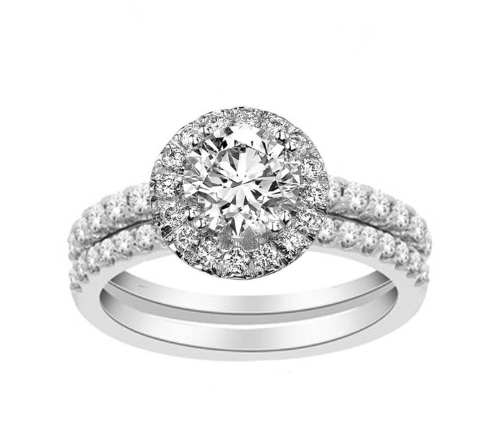 14kt White Gold 1.25cttw Halo Engagement Ring and Wedding Band Set