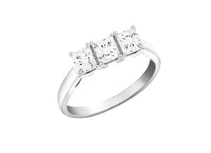 14kt White Gold Three Across Princess Cut Diamond Ring