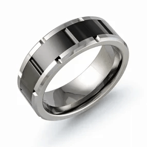 Brick Patterned Tungsten Men's Wedding Band