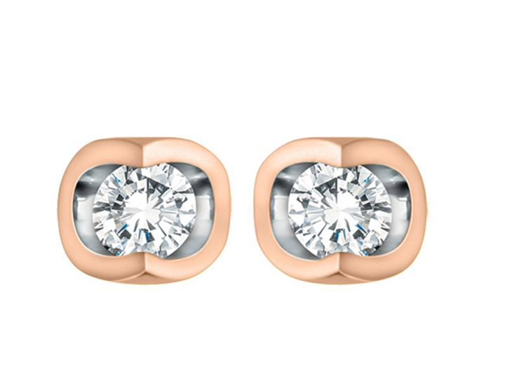 10kt Rose Gold And White Diamond Stud Earrings