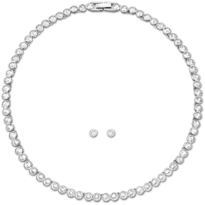 SWAROVSKI TENNIS SET, WHITE, RHODIUM PLATED