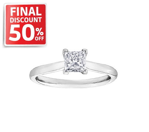 14kt White Gold 0.40ct Princess Cut Solitaire Diamond Engagement Ring
