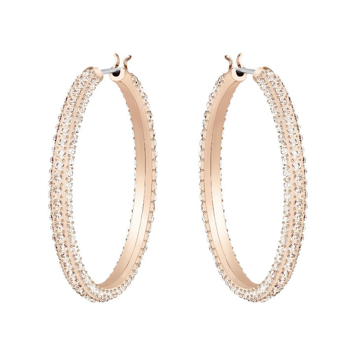 ROSE GOLD STONE HOOP PIERCED SWAROVSKI EARRINGS, ROSE-GOLD TONE PLATED