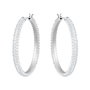 STONE HOOP PIERCED SWAROVSKI EARRINGS, WHITE, RHODIUM PLATED